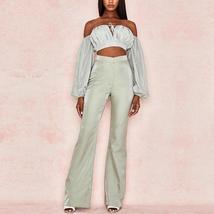 Women's Celebrity Brand Designer Long Sleeve Strapless 2 Two Piece Set image 5