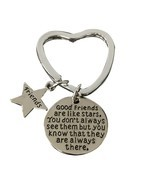 Best Friend Keychain, Friend Jewelry- Good Friends Heart Keychain - $185,76 MXN