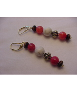 Unique Creations/Ozarks Coral/Ivory/Brown/Gold Beaded Drop Earrings - $9.99