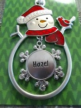 "Christmas Snowman Personalize ""Hazel"" Collectable Silver Ornament Ganz New - $17.52"