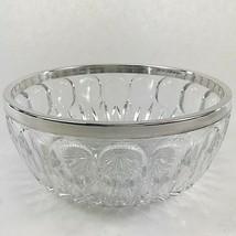 GORHAM CRYSTAL BOWL Vintage Full Lead Hand Cut Glass Silver Tone Rim UNUSED - $29.98