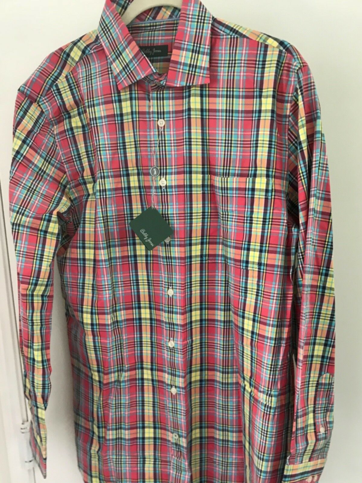 Primary image for Bobby Jones Golf Mens L Strawberry  Plaid Button-Front Dress Shirt NWT