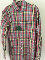 Bobby Jones Golf Mens L Strawberry  Plaid Button-Front Dress Shirt NWT  - $22.20