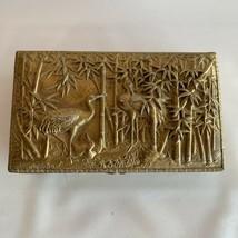 Japanese Meiji Taisho Period Bronze Metal Wood Cigarette Cigar Box Crane... - $50.00