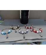 Metal wine bottle decorative necklace with murano glass beads - choice l... - $9.99