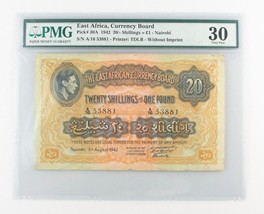 1942 East Africa 20 Shillings or 1 Pound (VF-30 PMG) Currency Board /- £... - $1,484.01