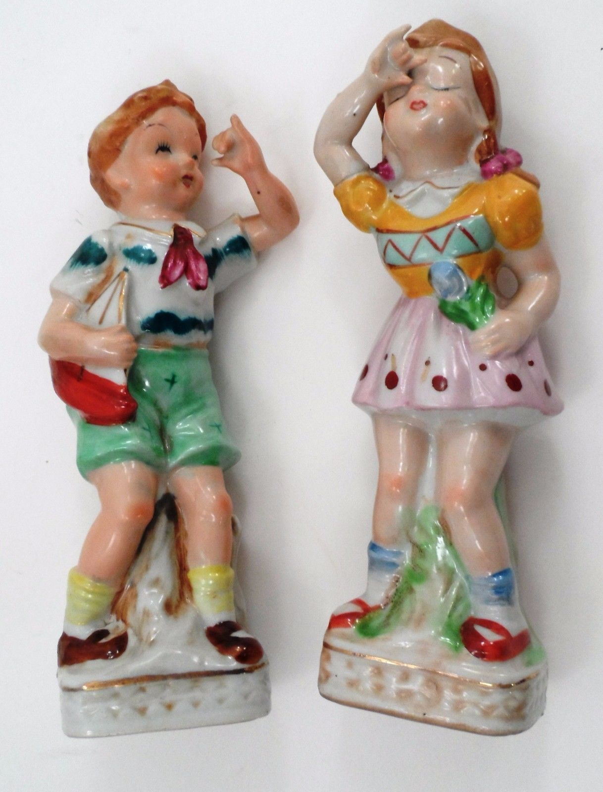 1940s UCG Ucagco Little Boy & Girl Brother Sister Figurines Toy Sailboat Boat