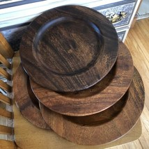 Pottery Barn Wood Plates Chargers Farmhouse Rustic Boho Dining Set Of 4 - $44.55
