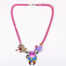 cow necklace pendant acrylic pattern 2016 news accessories spring summer cute an image 2