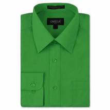 Omega Italy Men's Long Sleeve Solid Classic Green Button Up Dress Shirt  - XL