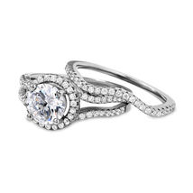 Sterling Silver 925 Classic Round Halo CZ Engagement Ring Wedding Ring set - $85.00