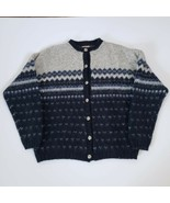 Vintage Woolrich Wool Sweater Women's Large Button Front Nordic Design M... - $39.99