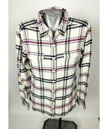 Patagonia Fjord Flannel Shirt Womans Size 12 Cream White Purple Black Grey  PMA - $76.99