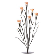 Flower Candle Holder, Flowers Art Glass Candle Holder Decor Small - Gold - $48.39