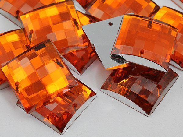 18mm Orange Hyacinth CH08 Square Flat Back Sew On Gems For Craft 25 PCS