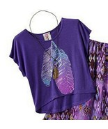 Knitworks Girls Feather Violet Purple Blouse Skirt 2 Pc Set Necklace S L - $19.99