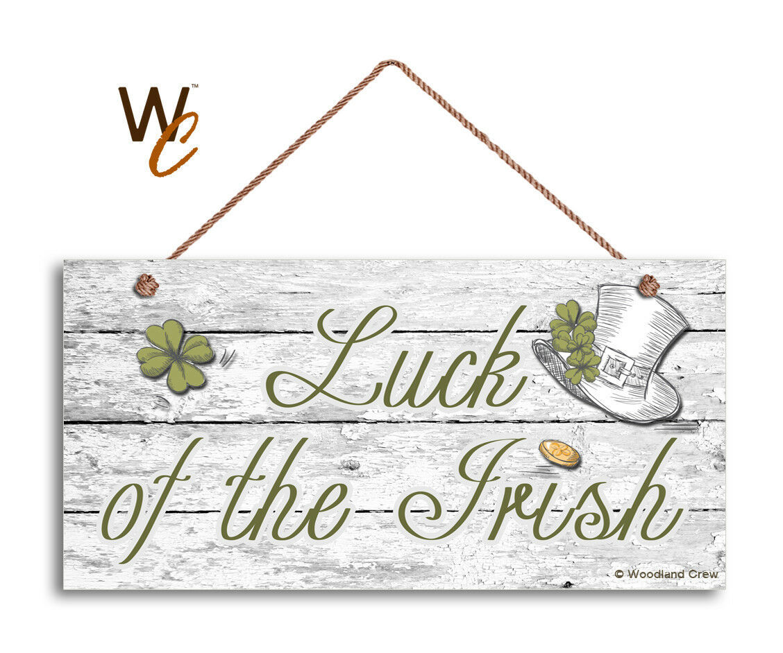 Luck of the Irish Sign, Holiday Rustic 5x10 Sign, Front Door Sign, Shamrocks - $12.87