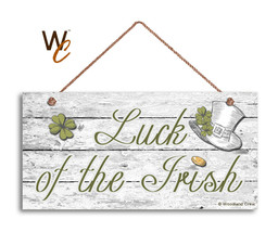 Luck of the Irish Sign, Holiday Rustic 5x10 Sign, Front Door Sign, Shamr... - $11.39