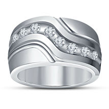 Art Deco Mens Engagement Diamond Ring 14k White Gold Finish 925 Sterling Silver - £74.66 GBP