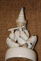Vintage Porcelain Clown Playing Flute Revolving Music Box - $14.85