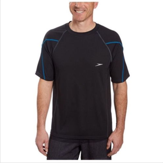 a1ae3de804 Speedo Mens UPF 50 Short Sleeve Rashguard Swim Tee, Black, Size XL - $29.69