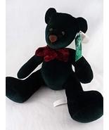 "Razzles Russ Berrie Plush Sitting Teddy Bear Dark Green w Maroon Bow 6"" - $14.84"