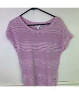 Old Navy Womens Sweater Top Pink 100% Cotton Short Sleeve Crochet Scoop ... - £13.84 GBP