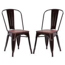 Set of 2 Metal Dining Chairs Stools Wood Seat Kitchen Side Stackable Ind... - $120.03