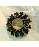 """Vintage Crown Trifari Black Carved Thermoset 2"""" Round Wreath Pin Brooch  - $24.74"""