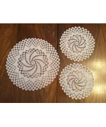 Vintage hand made crocheted round doilies set of 3 - $15.00