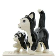 Hagen Renaker Cat Black and White Tuxedo Papa and Kitten Ceramic Figurines image 4
