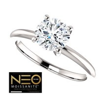 1.00 Carat (6.5mm) (Colorless EF) NEO Moissanite Solitaire Ring in 14K Gold - $799.00