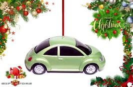 HTF CHRISTMAS ORNAMENT GREEN VW NEW BEETLE BUG VOLKSWAGEN CUSTOM LIMITED... - $38.98