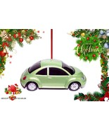HTF CHRISTMAS ORNAMENT GREEN VW NEW BEETLE BUG VOLKSWAGEN CUSTOM LIMITED... - $20.78