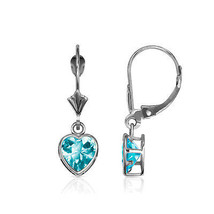14K Solid White Gold Bezel Set Topaz 6mm Heart Leverback Dangle Earrings - $93.04