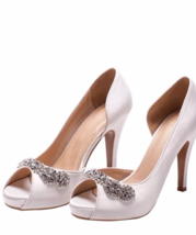 womens kitten heel shoes nude,ivory white peep toe bridal shoes,wedding ... - £55.38 GBP