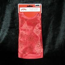 "Mini Christmas Tree Skirt Red Glitter 18"" Red Metallic Snowflake Holiday - $14.39"