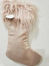 "Christmas Holiday Shabby Chic Blush Rose Gold Fur Sparkle Stocking 19"" NEW - $27.99"