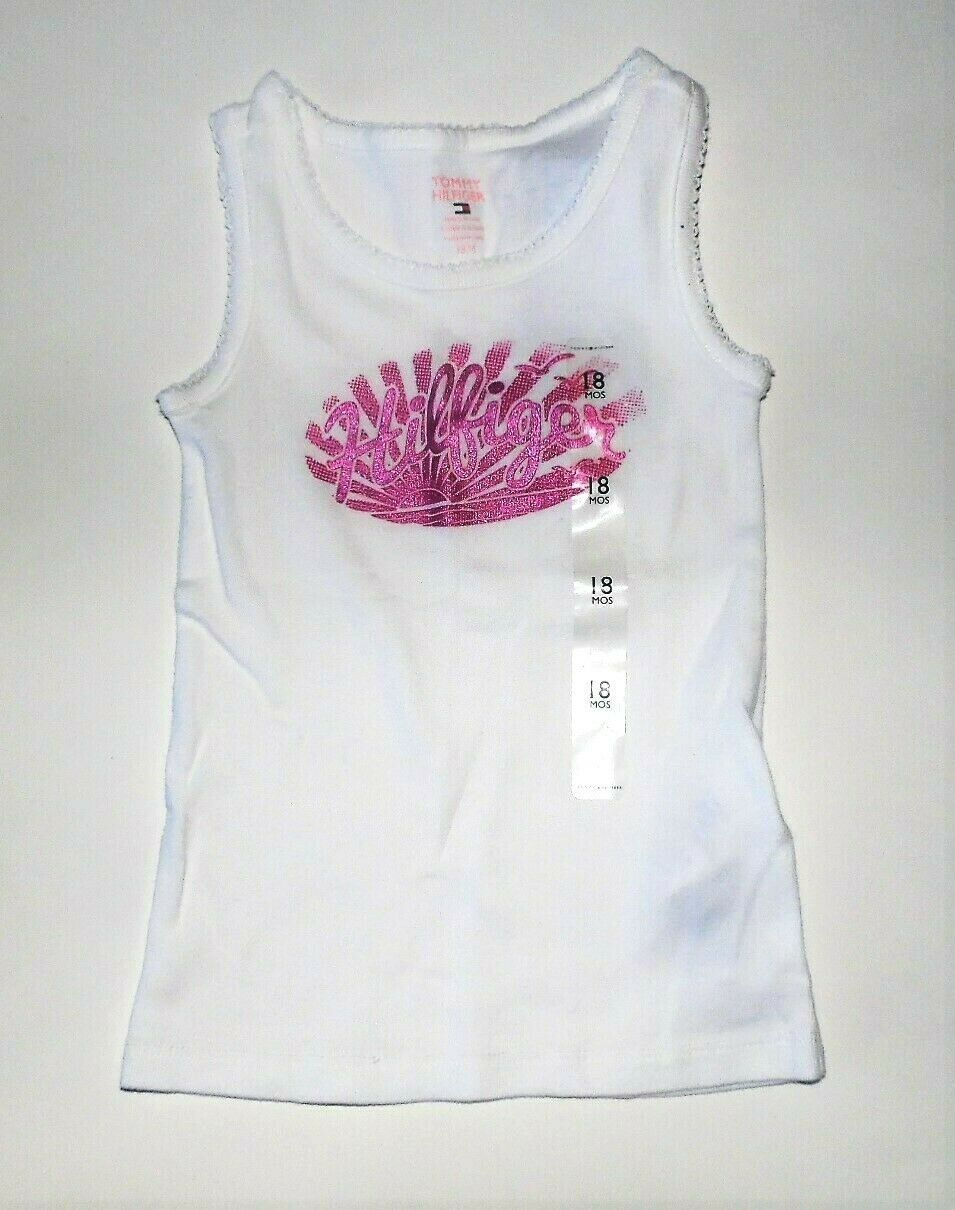 Tommy Hilfiger Toddler Girls White Tank Top Purple Sunrise Logo 18M & 2T NWT - $10.49