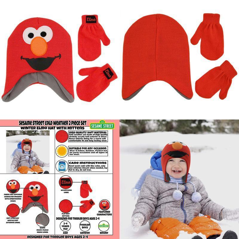 Primary image for Sesame Street Boys' Toddler Elmo Character Hat And Mittens Cold Weather Set