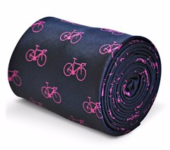 Frederick Thomas Navy Blue Mens Tie with Pink Bicycle Design FT3211
