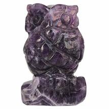 "Loveliome 2.0"" Natural Amethyst Owl Bird Sculpture Statue Crafts (Purple 2) - $20.14"