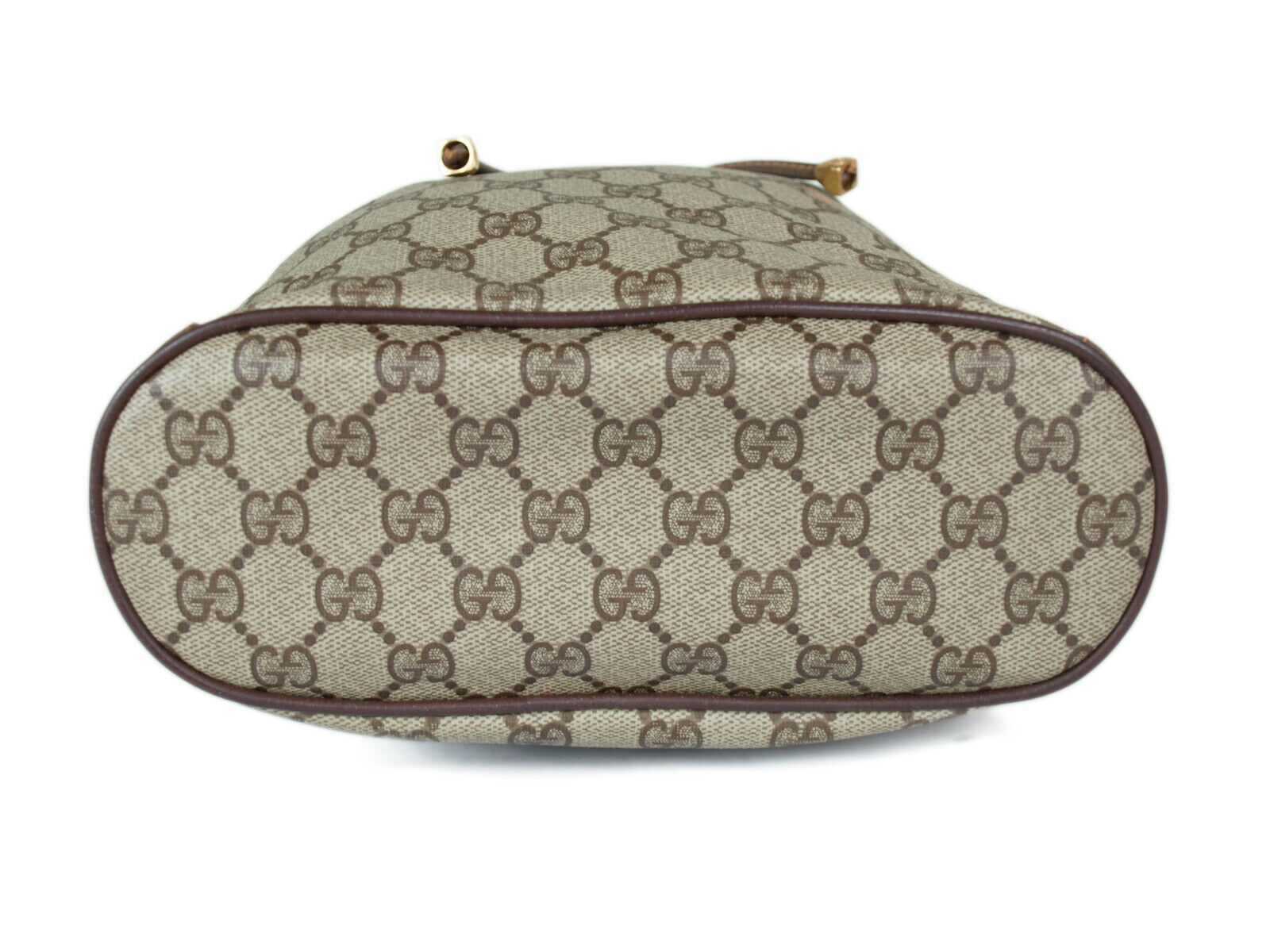 GUCCI GG Web PVC Canvas Leather Browns Drawstring Shoulder Bag GS2171 image 4