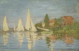 Monet - Regattas at Argenteuil - 24x32 inch Canvas Wall Art Home Decor - $51.99