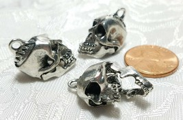 SKELETON SKULL MOVING JAW FINE PEWTER CAST PENDANT CHARM ANTIQUE SILVER CS184AS image 2