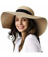 Womens Sun Straw Hat Wide Brim UPF 50 Summer Hat Foldable Roll up Floppy... - $43.32