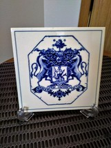 "Vintage 3 Blue Delft Holland Tiles Handmade  Pharmacy School Tiles  5.75"" x 5.75 image 5"