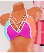 ~PINK~ VICTORIA'S SECRET Swim Racerback Cage Light Push-up Bikini Top ~M... - $32.99