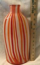 Vintage Mikasa Heavy Handblown Orange Red White Vertical Stripes Bottle Case - $46.74