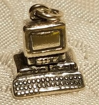 .925 Sterling Silver 3-D Desktop Computer Charm Pendant New Office